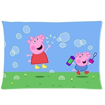 Custom Carton Anime Peppa Pig Rectangle Zipper Pillowcase Standard Size 20*30 inches Design Soft and Comfortable Pillow Cover (Twin Sides) (Wallet Anime Zipper)
