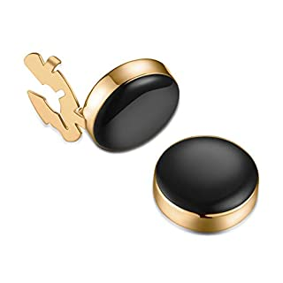 BUTTONCUFF Black Button Covers & Gold Finish - Imitation Studs for Formal Shirts and Black Tie (G-bla-s, 15mm)