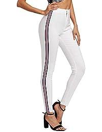 kefirlily Mujer Raya Legging Bodycon Otoño Primavera Pantalones Casuales  con Rayas Laterales 31ea4e6ed216