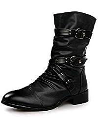 Hombre Martin botas retro cremallera hasta Chelsea conCesionario trabajo formal tobillo vaquero botas moteras zapatos Classic