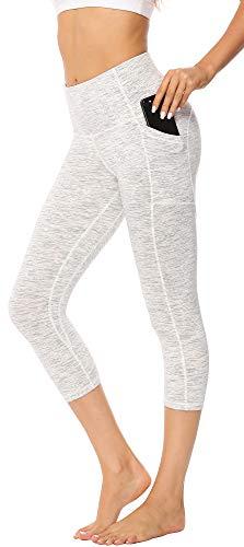 Persit Sport Leggins für Damen, 3/4 Sporthose Blickdicht Capri Tights Yogahose mit Taschen Weiß-L -