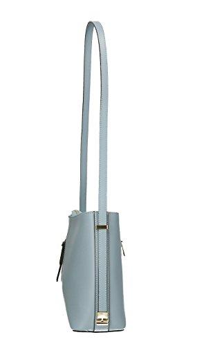Elegante Schultertasche aus echtem Leder, Hergestellt in Italien, 28x24x13cm Cielo