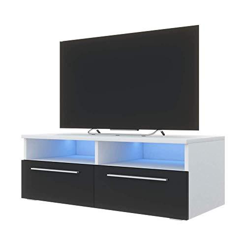 Selsey Siena - TV Lowboard / TV Schrank Weiß Matt / Schwarz Hochglanz, mit Blauer LED - Beleuchtung, 100 cm