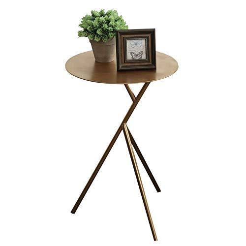 Home&Selected Furniture/Kleiner Kaffee Beistelltisch, Metall Runde Kaffee-Tee-Snack Side Beistelltisch Sofa Nacht Flur Möbel Schlafzimmer Wohnzimmer 38 * 57cm (Farbe: Gold) (Color : Gold)