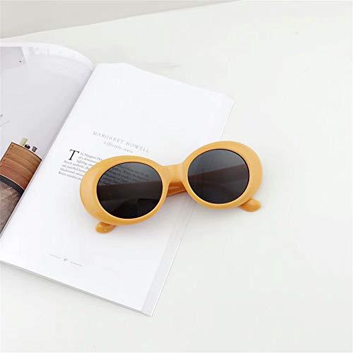 KOMNY Retro- Sonnenbrillen-Mann-Nirvana Kurt Cobain Sonnenbrille-Klassische Weinlese-Frauen-Sonnenbrille-weißer Rahmen Eyewear D