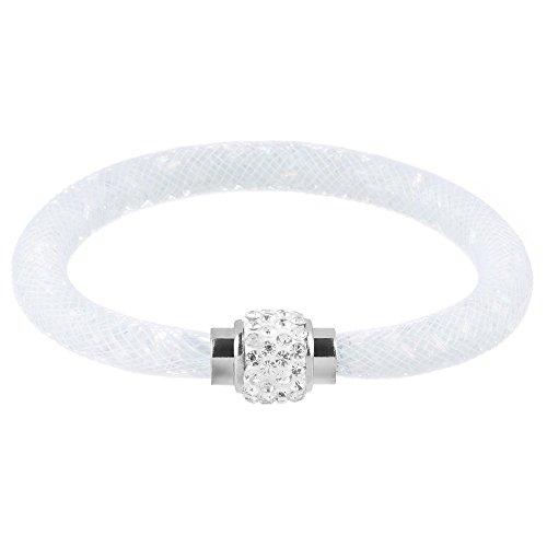 Mianova Damen Armband Armreif Stardust mit Kristallen Glitzerkugel und Magnetverschluß Weiß