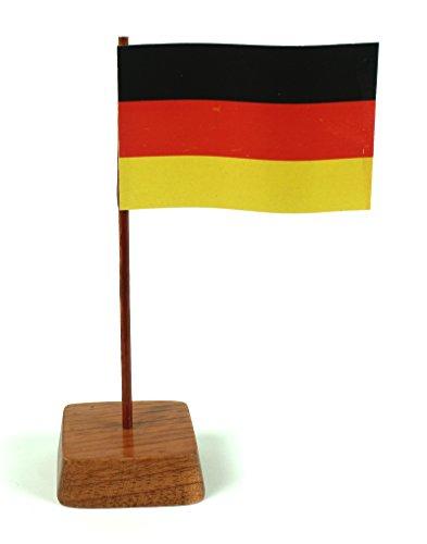 Set 2 Stück Mini Tischflagge Deutschland 67x44 mm mit Ständer aus Holz, Gesamthöhe ca. 130 mm Tisch Flagge Fahne