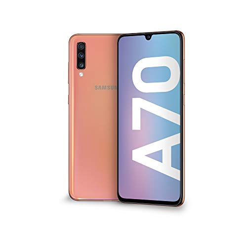 samsung galaxy a70 display 6.7, 128 gb espandibili, ram 6 gb, batteria 4500 mah, 4g, dual sim smartphone, android 9 pie, (2019) [versione europea], coral