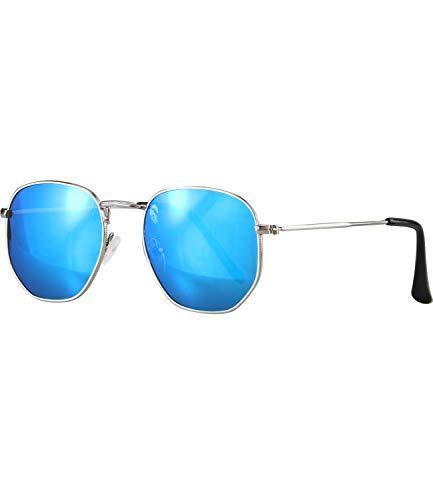 Caripe Retro Vintage Sonnenbrille rund Metall Lennon Damen Herren Nickelbrille - 9040 (9038 - silber - blau verspiegelt)