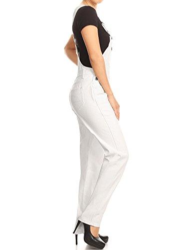 Anna-Kaci Frauen Denim Blue Jeans Gerades Bein Taschen Latzhose Weiß