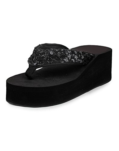 Do Bhai Synthetic Wedges for Women (EU39, Black)