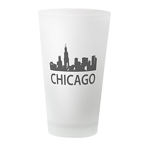 CafePress–Chicago Skyline Pint-Glas, Pint-Glas, 16oz Trinkglas frosted (Stadt-stack)