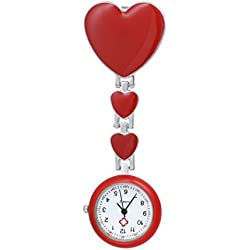 Clip on Brooch With Three Heart Beautiful Nurse Watch For Women-Red