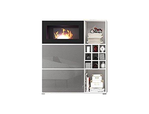 Wohnwand MIT BIOKAMIN Lowboard TV Schrank Sideboard Wohnzimmer Set FREYA (Weiß Matt / Grau Hochglanz) - 2