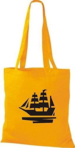 JUTA Borsa di stoffa barca a vela, Stivale, SKIPPER, CAPITANO giallo dorato