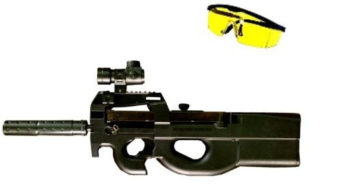 B90 Softair Gewehr AEG elektrisch + Red Dot + Schutzbrille + Zielscheibe