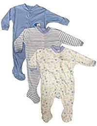 A.Gallu Gatti Long Sleeve Cotton Sleep Suit Romper Set of 3 for Boys (0-3 Months) Blue