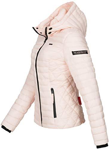 Marikoo Damen Jacke Steppjacke Übergangsjacke mit Kapuze gesteppt B600 [B600-Samt-Rosa-Gr.S] - 2