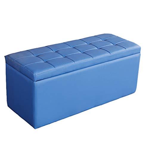 Storage Hocker - Home Multi-Funktions-Lange Lagerung Hocker Eine Vielzahl von Farben können wählen, auf dem Sofa sitzen Lederbank Long Hocker MENA Uk (Farbe : Blau, größe : L-60CM)
