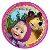 kit festa masha,piatti masha,24 piatti,24 bicchieri,40 tovaglioli masha e orso,festa masha e orso