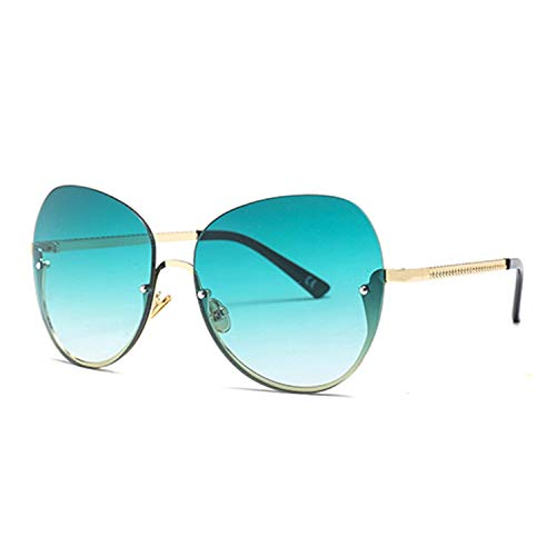 Klassische Sportsonnenbrille, Women Fashion Rimless Sunglasses Luxury Brand Big Frame Ladies Cat Eye Glasses Shades Eyewear For Men Women UV400