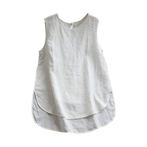 Darringls Blusa y Camisa Mujer,Camisetas Color sólido Blusa Talla Grande Algodón de Lino Chaleco Casual Sin Manga (Blanco, M)