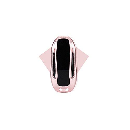 JenNiFer Luxuriöser Aluminum Car Key Case/Bag Fob Pocket Cover Holder Für Tesla Model S/X - Rose Gold