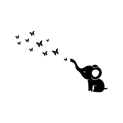 Art Sticker Decal Mural,Sunyoyo DIY Elephant Butterfly Waterproof Artwork Wall Stickers Removable Bedroom Home Decoration (Black)