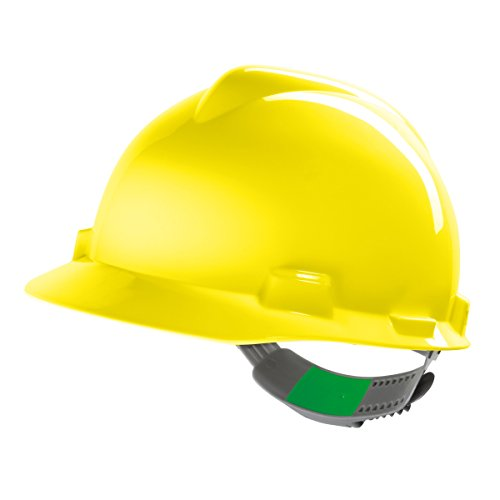 MSA V-Gard Arbeitshelm EN397 mit Schieberegelung PushKey - Bauarbeiterhelm Schutzhelm Baustellenhelm Elektrikerhelm, Farbe: gelb (Kleiner Junge Bau Kostüm)