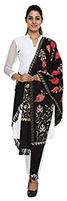 The MadhuSudan Gallery Women's Kashmiri Embroidered Woolen Shawl (43304,Black,Free Size)