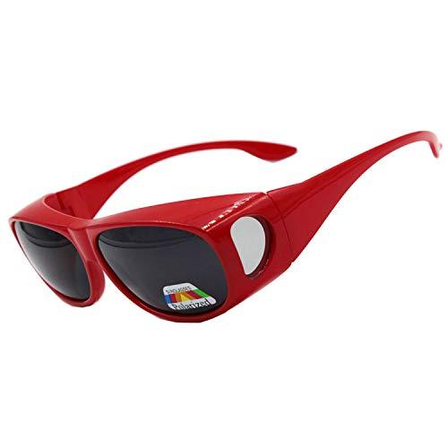 Sonnenbrille Überziehbrille für Brillenträger Brille Herren Damen {Polarisiert Sonnenüberbrille über normale Brillen},UV400 sunglasses Fit Ove Rx Glasses (Red)