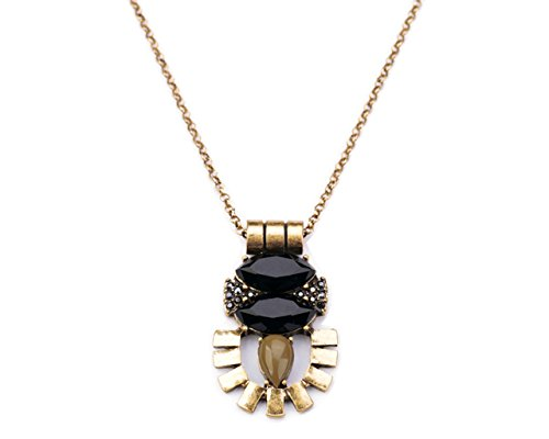 Glitz Cinderella Collection Retro Style Jewelry Created Gemstone Insect Thin Chain Long Pendant Necklace (Black/Blue) (Black)