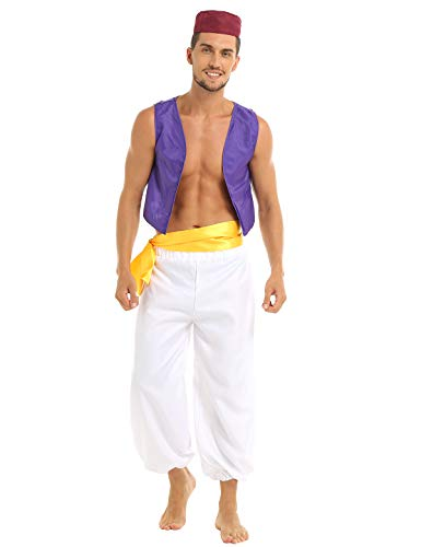Freebily Araber Prinz Kostüm Herren Halloween Erwachsenenkostüm Cosplay Outfit Karnevalskostüm Lila & Weiß Small
