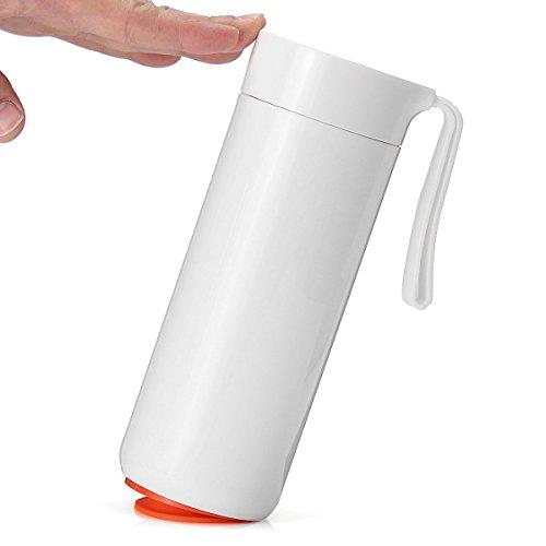 TAPCET 400ml Weißes Reisebecher Vakuum Thermosflasche Edelstahl Isolierflasche Trinkflasche Becher Unten mit Saugnäpfen Für Büro Schule Fitness Outdoor Sport - 5