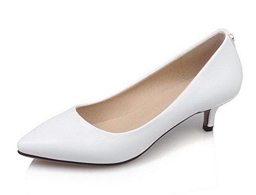VogueZone009 Femme Pointu Tire Couleur Unie à Talon Correct Chaussures Légeres Blanc