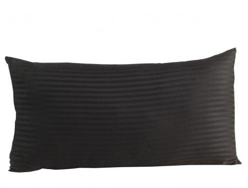 Homescapes Kissenbezug 50 x 90 cm schwarz mit Satin-Streifen - 100% Reine ägyptische Baumwolle, Fadendichte 330 - Kissenhülle mit Hotelverschluss, extra groß - 100% Ägyptische Baumwolle Streifen