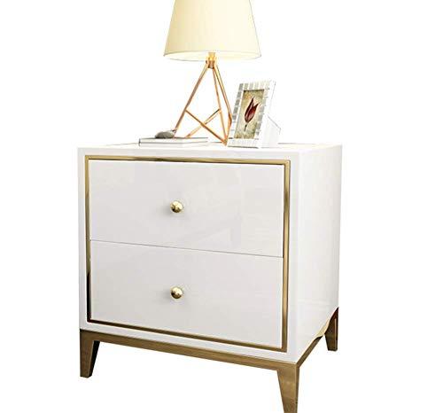 2 Schublade Nachttisch Holz-finish (QZX Möbel Holz Weißer Nachttisch, Moderner Schlafzimmertisch Möbel 2 Schubladen Nachttisch Schublade Kleiner Beistelltisch in hellem Eichen-Finish,Black)