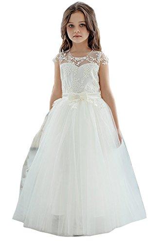 Izanoy Mädchen Spitze Blumenmädchen Kleid erste Kommunion Kleider mit Ärmel Beige 10
