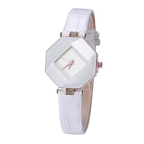 CWYPB Weibliche Uhren PU-Armband Rund Wasserdichter Diamant Spiegel in Voller Länge: 210Mm,White (Mädchen Spiegel Länge, Voller Für In)