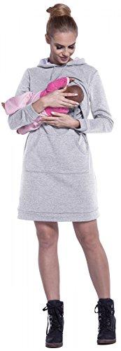 Happy Mama. Femme Robe Sweat-Shirt à Capuche Allaitement Maternité Couches. 208p Gris Chiné