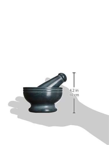 Handgefertigte indischen Natur, Grau Stone Mörser und Stößel-Set, perfekt zum Zerstoßen von Kräutern, Gewürzen & Samen Küchenutensilien-Set, handgefertigt - 2