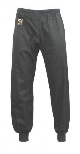 S.B.J - Sportland Baumwollhose/Kampfsporthose/Judohose/Karatehose/Wushu Hose schwarz mit Bündchen, 180 cm