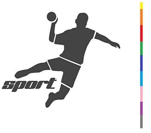 generisch Handball Aufkleber in 10cm, 15cm, 20cm oder 25cm Handball Sport Aufkleber Sticker als Autoaufkleber oder Wandtattoo in vielen Farben (255/3) (Silbergrau Glanz, 15cm)