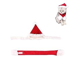Costumes de Noël pour animaux de compagnie, bonnet et écharpe Noël ensemble de vêtements de fête pour le parti Père Noël au chaud cadeau de fête pour chien et chat