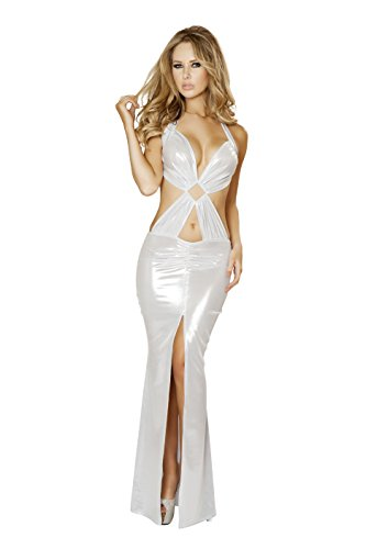 Price comparison product image Roma Women's Open Back Gown with Front Slit and Diamond Ring Detail, White, Medium