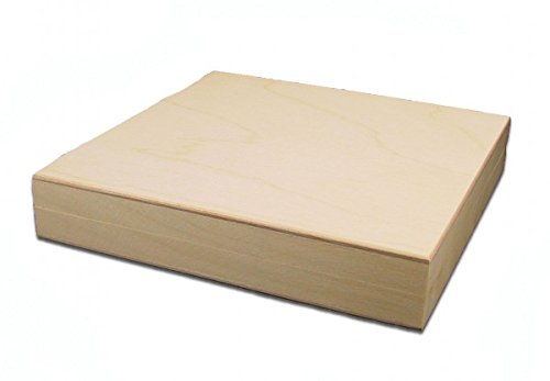 MidaCreativ quadratische Holzbox, CD-Holzbox, Holz-Schachtel, Linde unbehandelt -