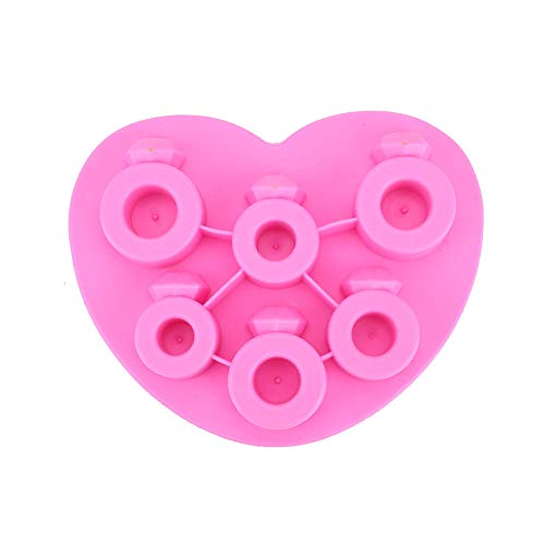 NYWENY Diamond Ring Ice Cube Tray 6 Grid Jelly Pudding Chocolate Mould Ice Make Pink (Ring-ice Cube Tray)