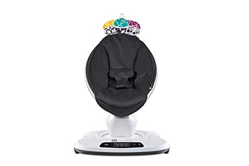 4moms Babywippe mamaRoo4 Babyschaukel elektrisch mit Musik automatische Schaukelwippe mit Spielbogen, schwarz