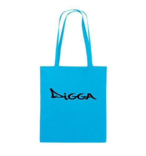 Borse Comiche - Digga In Stile Graffiti - Borsa Di Juta - Manico Lungo - 38x42 Cm - Colore: Nero / Argento Azzurro / Nero