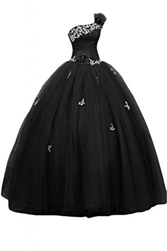 Sunvary Royal Una spalla raso Quinceanera Prom Tulle porta abiti per abiti da sera Gowns Black